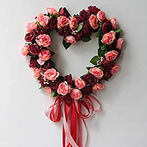 Artificial & Dried Flowers - Fake Silk Rose Flower Artificial Flowers Hanging Garland Wedding Wreath Heart Shaped Festival Party - Flowers Artificial Dried 2