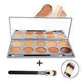 DE'LANCI 10 Colors Pro Concealer Highlighter Contour Palette Face Cream Concealer Makeup Palette Complete Coverage Camouflage Concealer Set Cosmetics Contouring Kit with Mirror Make Up Brush Tool