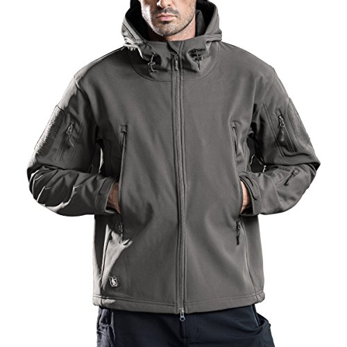 FREE SOLDIER Men's Outdoor Waterproof Soft Shell Hooded Military Tactical Jacket(Gray XX-Large)