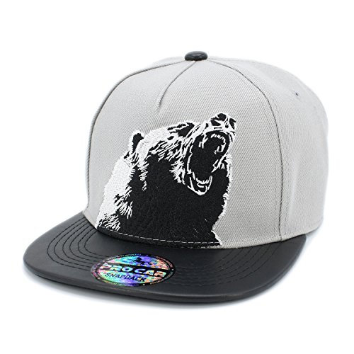 229981b8c79 Jual Embroidered Roar Bear PU Flat Bill Snapback Cap Baseball Hat ...