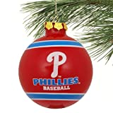 MLB Philadelphia Phillies Striped Glass Ball Ornament - Red