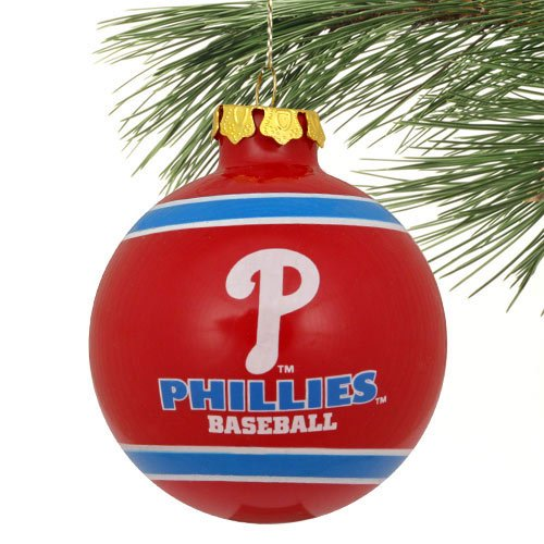 - MLB Philadelphia Phillies Striped Glass Ball Ornament - Red