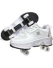 Roller Skates for Women,Shoes with Wheels for Girls/Boys,Men Outdoor Skates,Quad Skates for Kids,2 in 1 Double Line Skates/Kick Rollers Shoes for Adults,Parkour Deformed Shoes Unisex