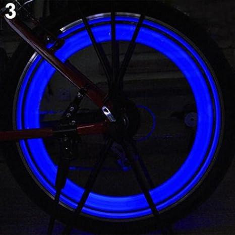 Geshiglobal - Luz LED para radios de bicicleta, rueda de coche, rueda de neumático, azul: Amazon.es: Deportes y aire libre