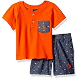 U.S. Polo Assn. Baby Boys' Pocket Henley and Chambray Short, Multi Plaid, 3/6M