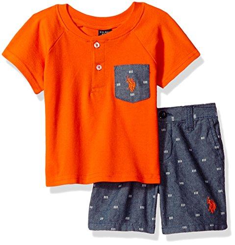 U.S. Polo Assn. Baby Boys Pocket Henley and Chambray Short