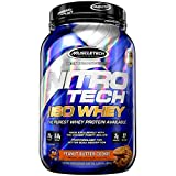 Whey Protein Isolate | MuscleTech Nitro-Tech Elite 100% Whey Isolate Protein Powder | Whey Protein Powder for Women & Men | Muscle Builder | Peanut Butter Protein Powder, 1.8 lbs (27 Servings)