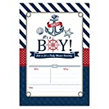 Nautical Baby Shower Invitations, Ahoy It's a Boy Baby Shower Invites, 20 Fill in Beach Themed Invitations and Envelopes, Anchor and Seashells