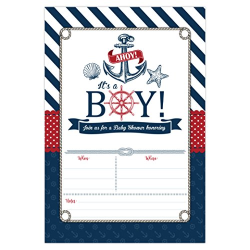 Nautical Baby Shower Invitations, Ahoy It's a Boy Baby Shower Invites, 20 Fill in Beach Themed Invitations and Envelopes, Anchor and Seashells -