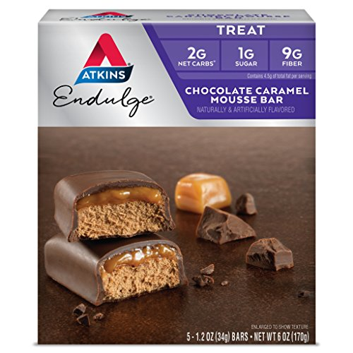 Atkins Endulge Treat, Chocolate Caramel Mousse Bar, Keto Friendly, 5 Count ()