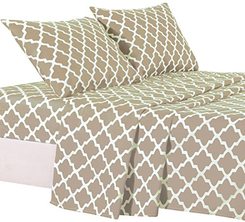 Lux Decor Collection Bed Sheet Set - Brushed Microfiber 1800 Bedding - Wrinkle, Stain and Fade Resistant - Hypoallergenic - 4 Piece (King, Quatrefoil (Quatrefoil Collection)