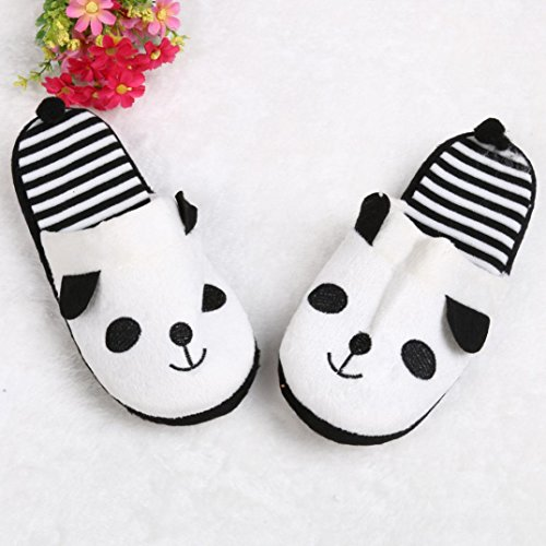 Soft fulltime® Chaussons Lovely Blanc Cartoon Pantoufles Stripe Panda Étage Home Zxvawa