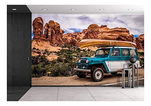 wall26 - Vehicle Driving Through The Grand Canyon - Removable Wall Mural | Self-Adhesive Large Wallpaper - 100x144 - Canyon Grand Stone