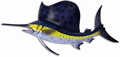 Handpainted Jumbo Sailfish Wall Mount Decor Plaque 48″