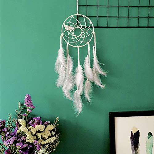 (Dream Catcher Simple Pendant Wedding Decoration Home Decoration Pure White Feather Butterfly)