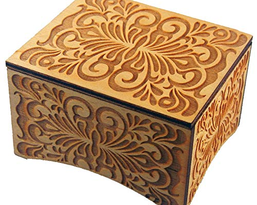 TheLaser'sEdge, Personalizable Floral Windup Music Box, Laser Engraved Wood (Standard, Can't Help Falling in Love)