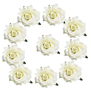 Jili Online 10 Pieces 10cm Silk Rose Buds Flowers Heads Artificial for Wedding Hair Clip Hand Flower Corsage Bouquet DIY Decor Crafts - cream 77