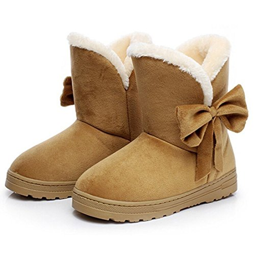 Boots Shoes Calf Yying Boots Shoes Fur Lined Brown Mid Winter Women Boots Warm Flat Outdoor q8qvawA