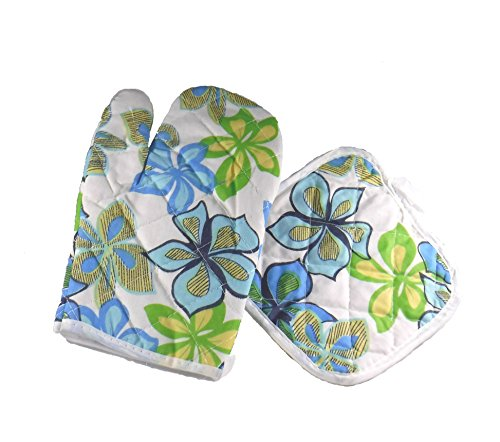Galleria Ventures Blue and Green Flowers Quilted Oven Mitt Glove and Pot Holder pad