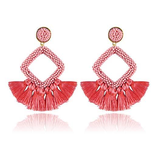 (Jornarshar Fringe Hoop Round Tassel Earrings for Women Handmade Bohemia Beaded Fringe Dangle Earrings, Idea Gift for Mom, Sister and Friends (Coral Orange))