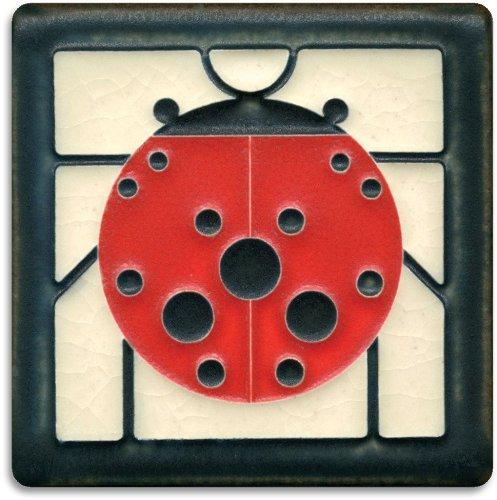 Ladybug White Decorative Tile with Black Border