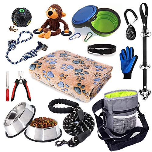 Puppy Starter Kit,Dog Supplies Assortments,Set Includes:Dog Toys/Dog Bed Blankets/Puppy Training Supplies/Dog Grooming…
