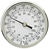PIC Gauge B3B9-II 3'' Dial Size, 0/250°F and -18/121°C, 9'' Stem Length, Back Angle Connection, Stainless Steel Case, 316 Stainless Steel Stem Bimetal Thermometer