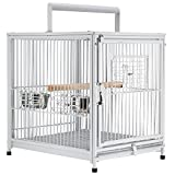 PawHut 22' Heavy Duty Wrought Iron Travel Bird Cage Carrier with Handle Perch and Accessories - White