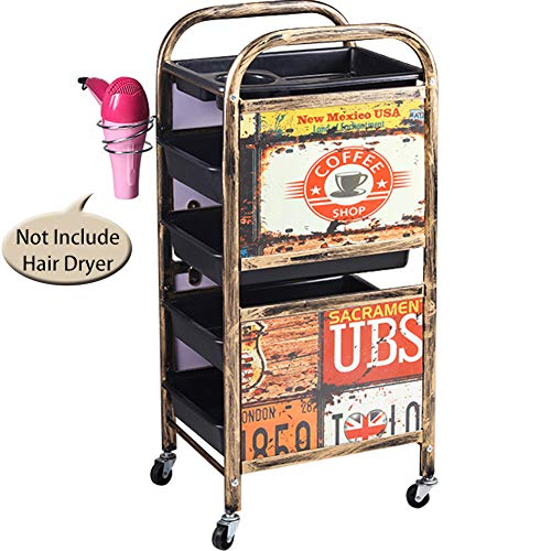 TINTON LIFE 5 Tiers Metal Salon SPA Rolling Trolley, used for sale  Delivered anywhere in USA