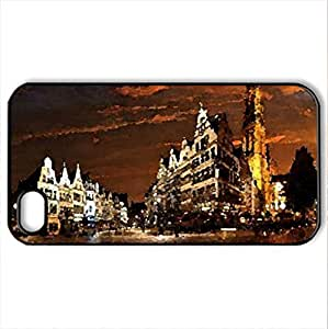lintao diy Belgium city at night - Case Cover for iPhone 4 and 4s (Watercolor style, Black)
