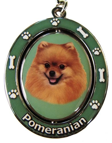 Pomeranian Keychain<br>Double Sided, Spinning