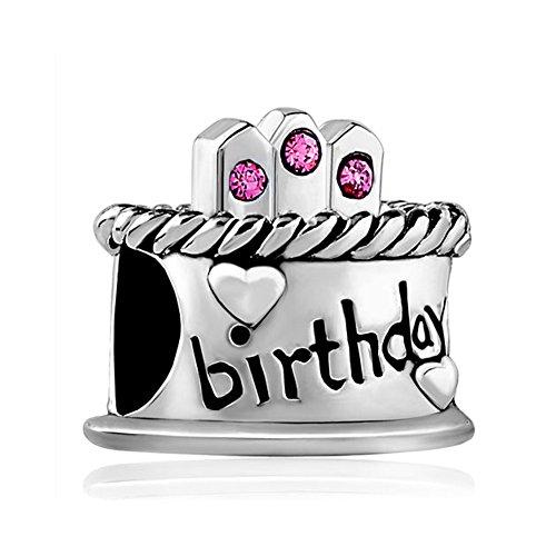LovelyJewelry Silver Plated LovelyJewelry Happy Birthday Cake Hot Pink October Birthstone Bead Bracelet