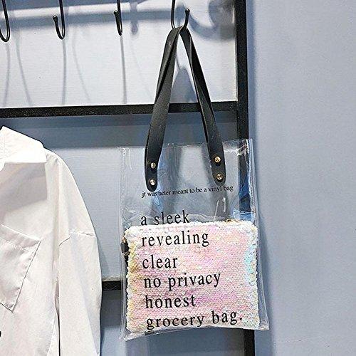 Summer Plastic Shoulder Handbags Shopping Beach Bags Everpert Women Clear Tote PVC White nzTUwqx0If
