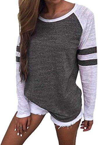 's Tee Shirts Long Sleeve Blouses Baseball Colorblock Striped Tops Dark Grey L ()