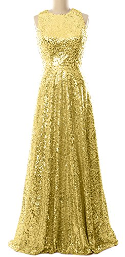 MACloth Women A Line Sequin Long Bridesmaid Dress Evening Formal Party Gown Light Gold