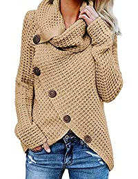 Women's Chunky Turtle Cowl Neck Asymmetric Hem Wrap...