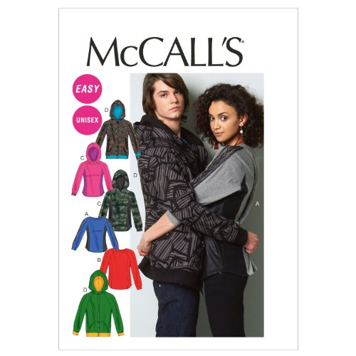 McCall Patterns M6614XM0 Misses'/Men's Tops and Jacket Sewing Pattern, Size XM (SML-MED-LRG) - Mens Jacket Patterns
