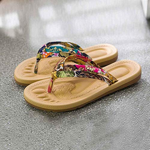 10b1f7644807 Ljnuanrg Summer Women s Non-Slip Flip Flops Slippers Ladies Fashion Sweet  Print Sandals Flat Beach