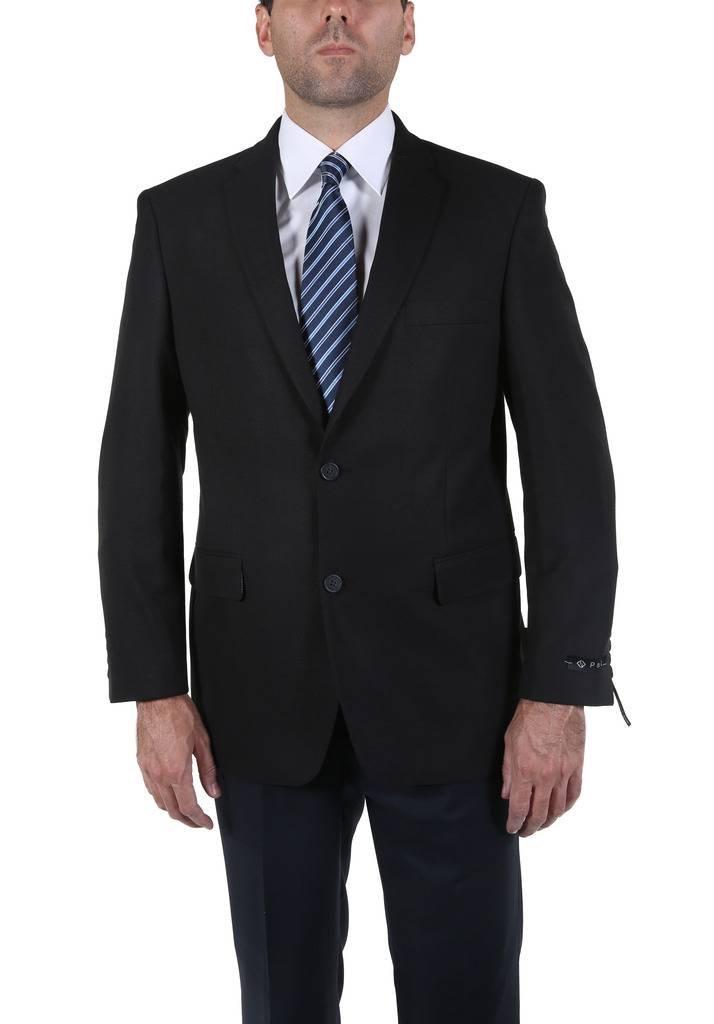 P&L Men's Black/Blue Modern Fit Two-Button Blazer Suit Separate Jacket,Black,48 Long