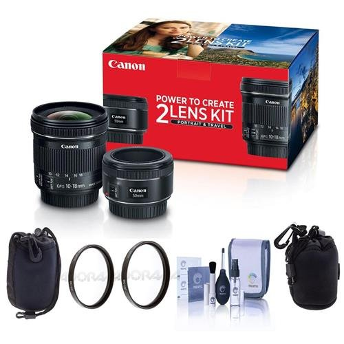 Canon Portrait & Travel 2 Lens Kit – EF 50mm f/1.8 STM Lens & EF-S 10-18mm f/4.5-5.6 IS STM Lens – Bundle with 49mm/67mm Uv Filters, Small Lens Pouch, Medium Lens Pouch, Cleaning Kit