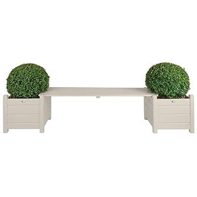 Esschert Design Planters with Bridge Bench, White : Garden & Outdoor