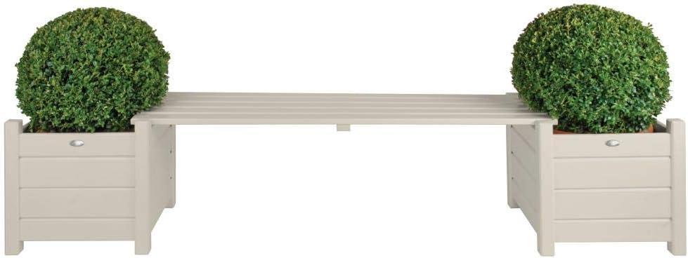 Esschert Design Planters with Bridge Bench, White