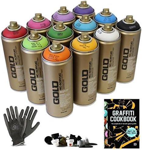 Graffiti – Pack 12 Spray de pintura latas, guantes de protección + ...