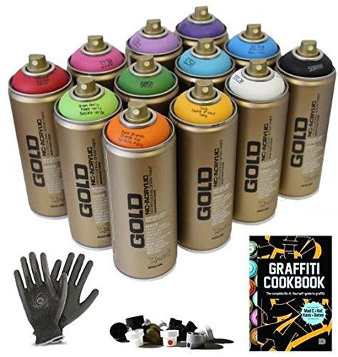 Montana Gold Graffiti Starter Pack - 12 Spray Paint Cans, Tutorial Book,...