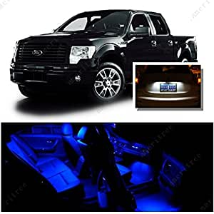 ameritree ford f150 2009 2014 9 pcs blue led lights interior package and white led. Black Bedroom Furniture Sets. Home Design Ideas