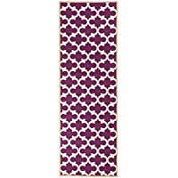 Ottomanson Glamour Collection Contemporary Moroccan Trellis Design Runner Rug (Non-Slip) Kitchen Bathroom Mat Rug, 26 X 60, Purple