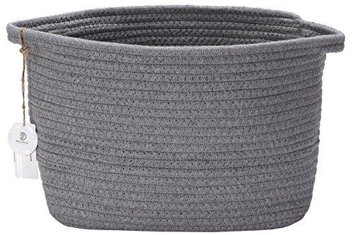 Sea Team 12.2' x 8.7' Natural Cotton Thread Woven Rope Storage Basket Bin Hamper with Handles for Nursery Kid's Room Storage (Grey)