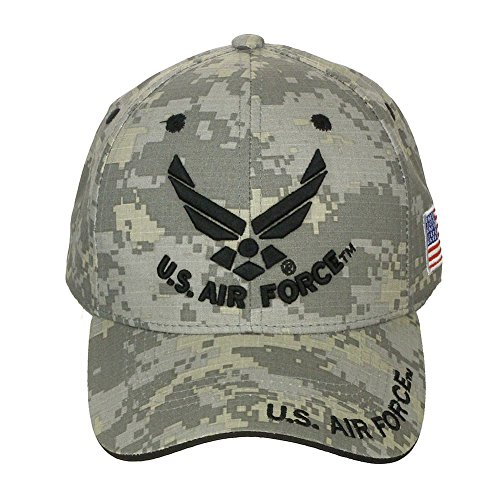 Official Licensed US Air Force with US Flag Adjustable Back Cotton Cap Hat  - Black Digital d5e1509b1e3d