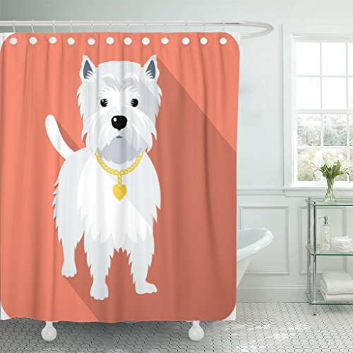 MAYTEC Shower Curtain Cute Westie Dog West Highland White Terrier Standing Flat Design Funny Amusing Waterproof Polyester Fabric 72 x 72 inches Set with Hooks Miniature West Highland White Terrier