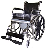 MedMobile All-In-One Chrome Steel Shower / Commode Wheelchair with Flip-up Armrests, Detachable Footrest, Plastic Commode Seat.